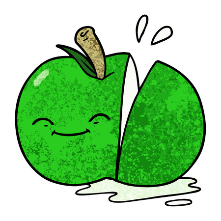 Cartoon sliced green apple