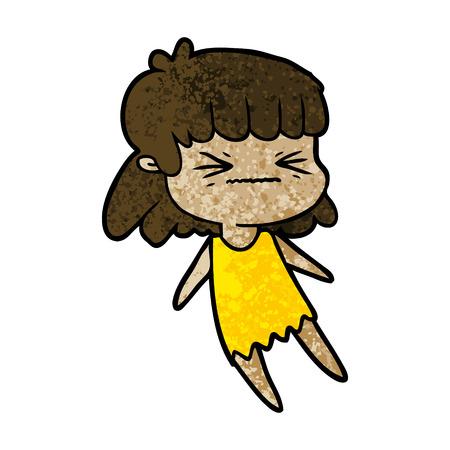Cartoon angry girl. Illustration