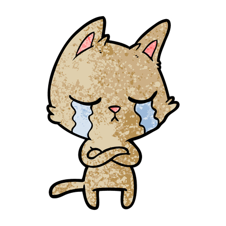Hand drawn crying cartoon cat with folded arms