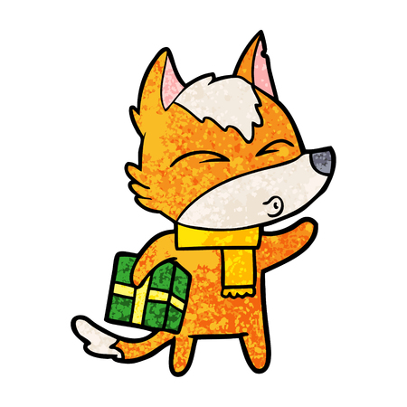 Fox cartoon character with present.