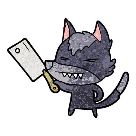 Angry wolf cartoon with cleaver Illustration