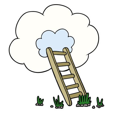 Cartoon ladder into cloud 일러스트