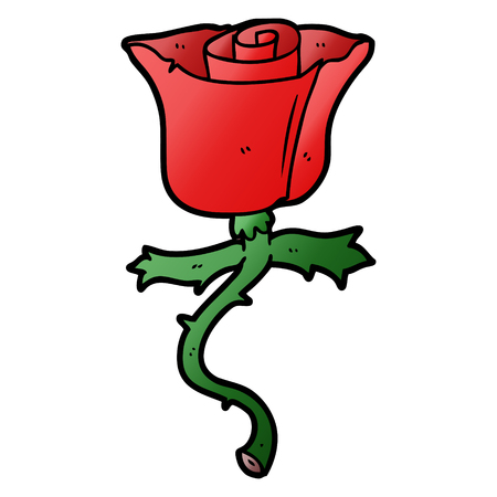 Cartoon rose with thorns