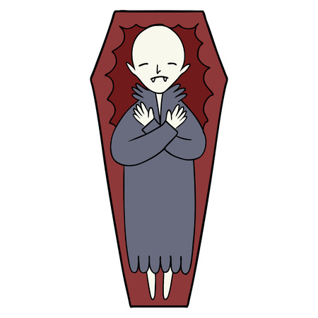 Spooky cartoon vampire in coffin