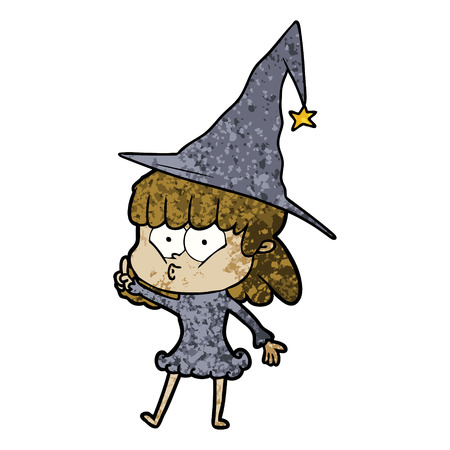 Cartoon whistling witch girl