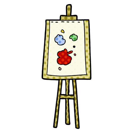 Cartoon painting easel 일러스트