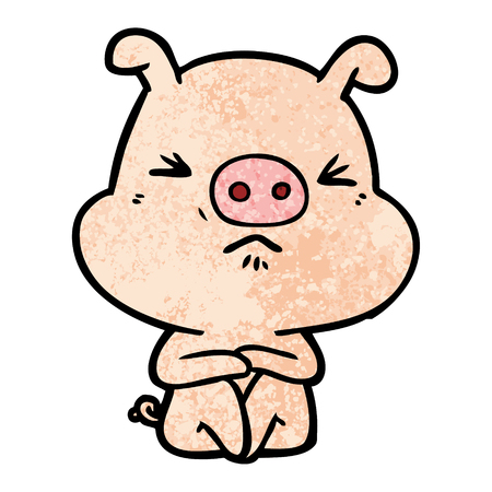 Cartoon angry pig sat waiting