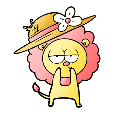 Cartoon lion wearing hat