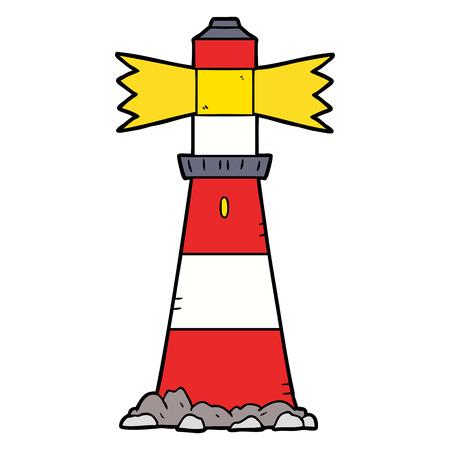 白い背景に隔離された漫画の灯台。