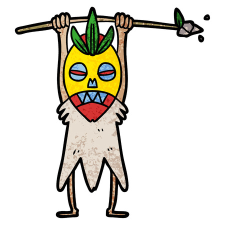 A cartoon cannibal shaman isolated on white background. 向量圖像