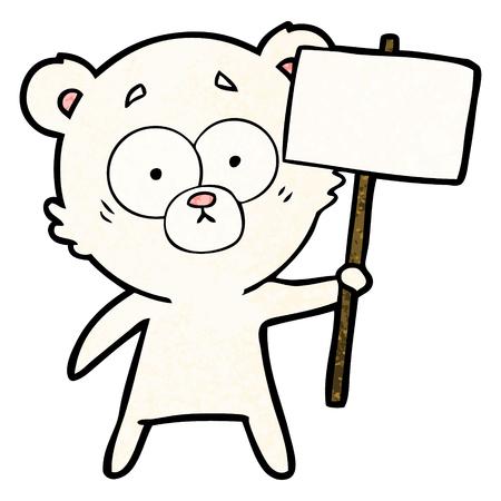 白い背景に孤立した抗議サインを持つ神経質なホッキョクグマの漫画。  イラスト・ベクター素材