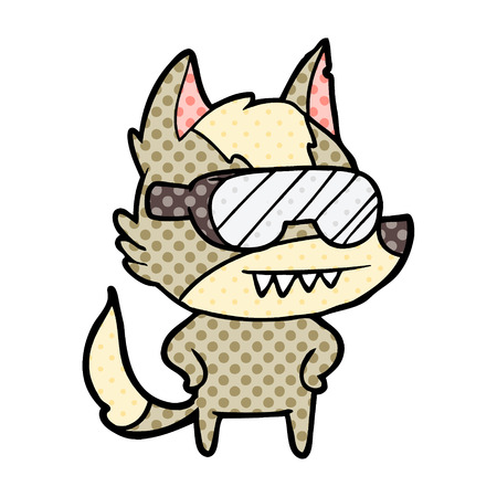 A wolf wearing goggles cartoon isolated on white background. Иллюстрация