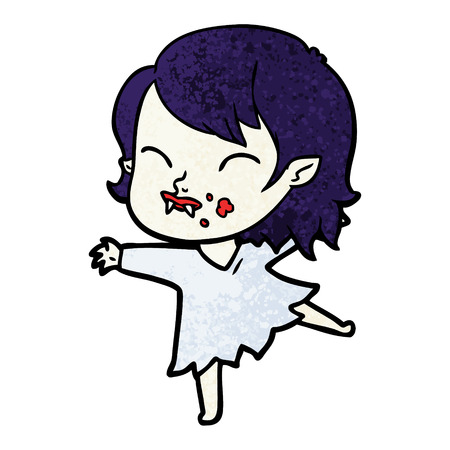 A cartoon vampire girl with blood on cheek isolated on white background.