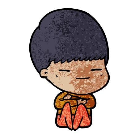 cartoon smug boy Illustration