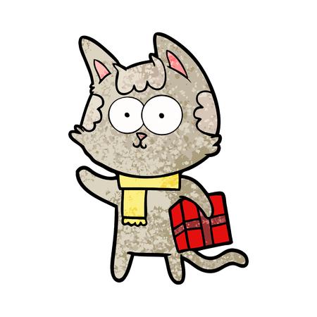 happy cartoon cat with christmas present