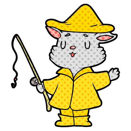 cartoon cat fisherman