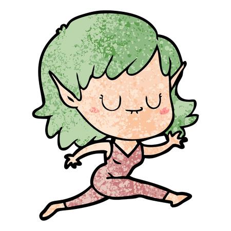 happy cartoon elf girl running