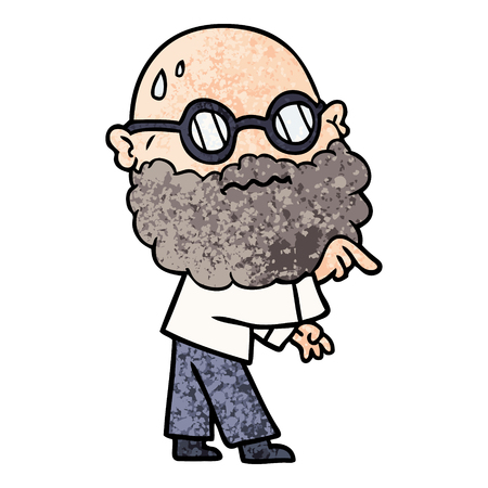 Cartoon man with beard and spectacles pointing finger