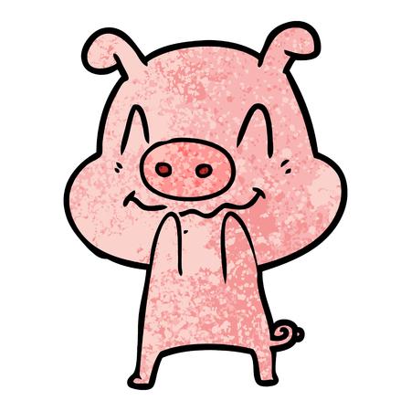 nervous cartoon pig Imagens