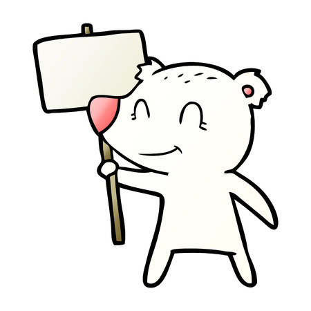 Polar bear with protest sign cartoon