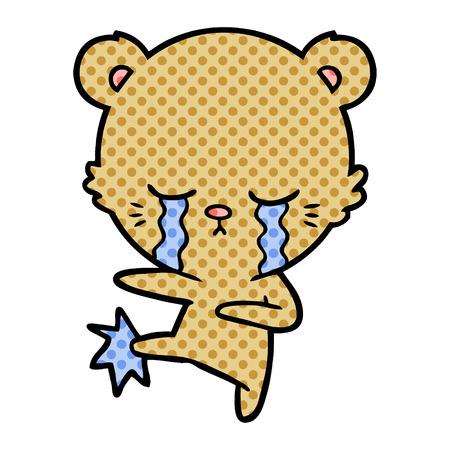 Crying bear cartoon character