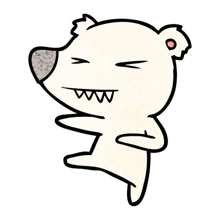 Kicking polar bear cartoon Çizim