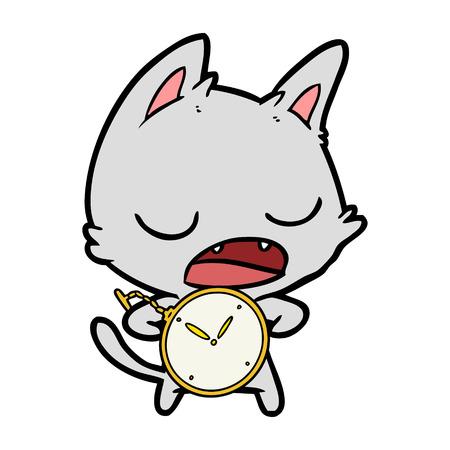 Talking cat cartoon with stopwatch Illustration