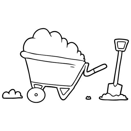 Cartoon wheelbarrow Stock Illustratie