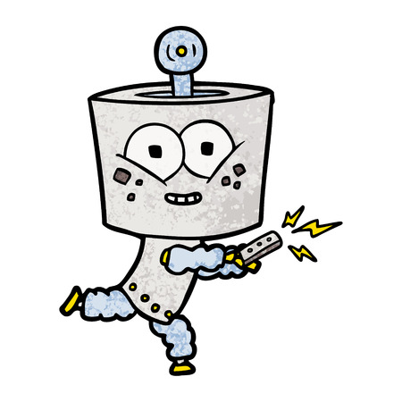 Cartoon robot with remote control Ilustrace