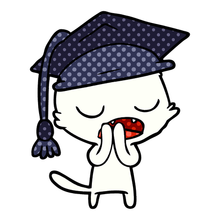 Graduate talking feline cartoon Stock Illustratie