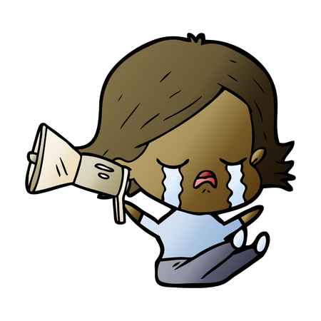 Cartoon girl crying with megaphone Illustration