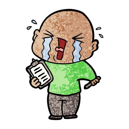 cartoon crying man with clipboard