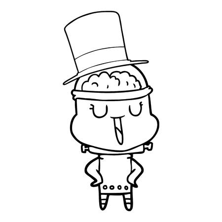 happy cartoon robot wearing top hat Illustration