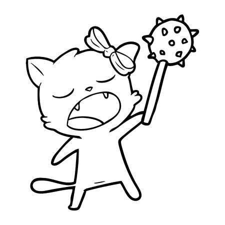 cartoon singing cat Illustration