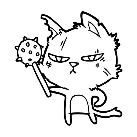 tough cartoon cat with mace
