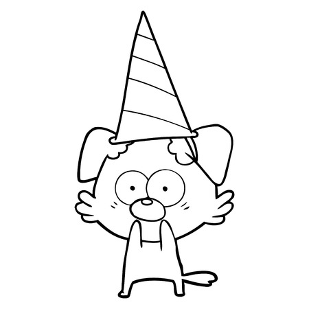 Nervous dog cartoon in party hat