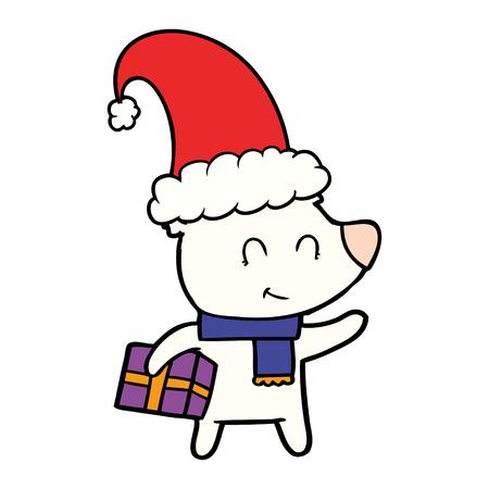 female polar bear with christmas present Stock Photo