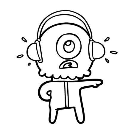 Cartoon cyclops alien spaceman listening to music
