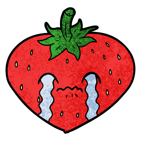 Crying cartoon strawberry Stock Illustratie