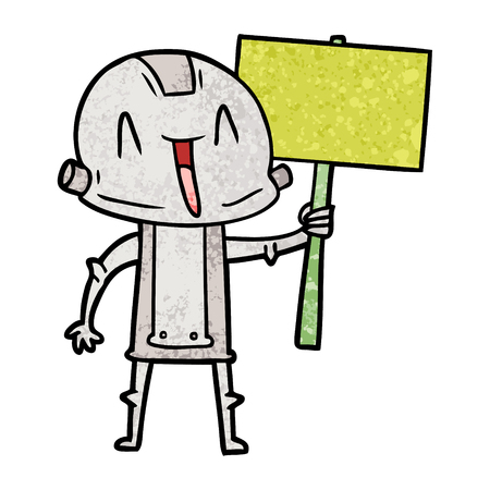 Protesting cartoon robot Illustration