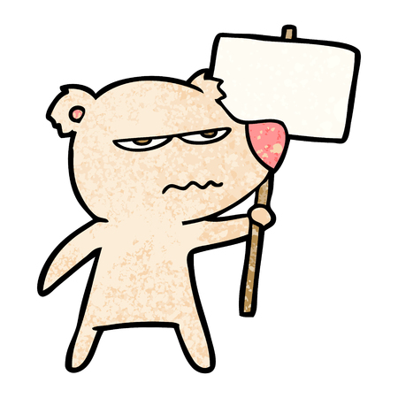 Angry bear cartoon holding placard