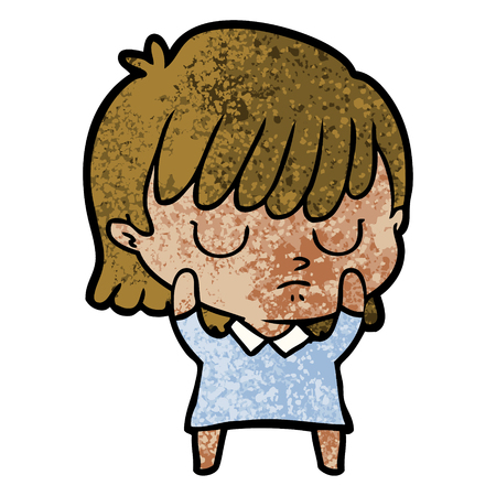 Sleepy cartoon woman 일러스트