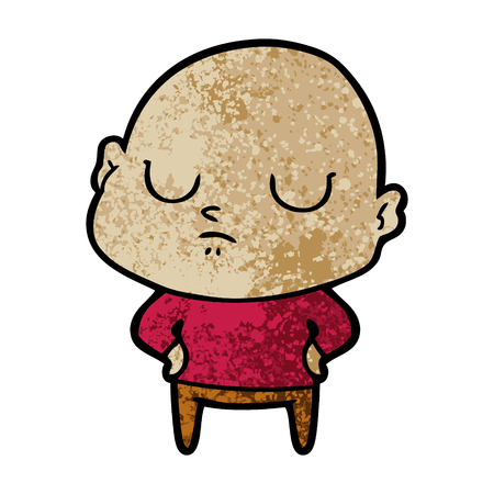Sleepy cartoon bald man