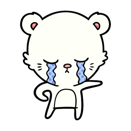 Crying polar bear cartoon Illustration