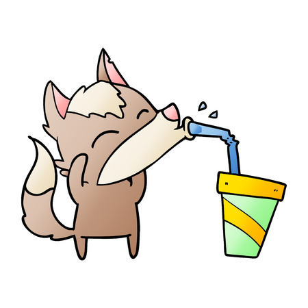 cartoon wolf drinking on a cup with straw