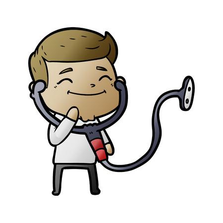 happy cartoon doctor with stethoscope