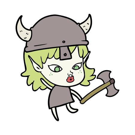 Pretty cartoon viking elf girl illustration on white background.