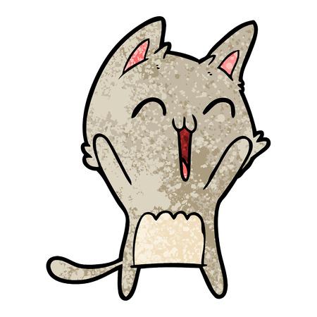 Happy cartoon cat meowing illustration on white background.