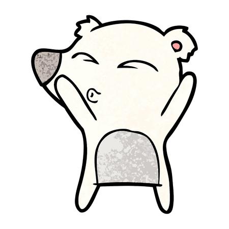 Polar bear cartoon pouting illustration on white background.