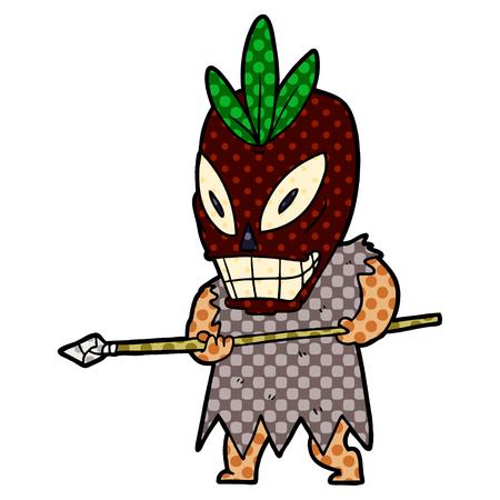 Cartoon cannibal shaman illustration on white background.
